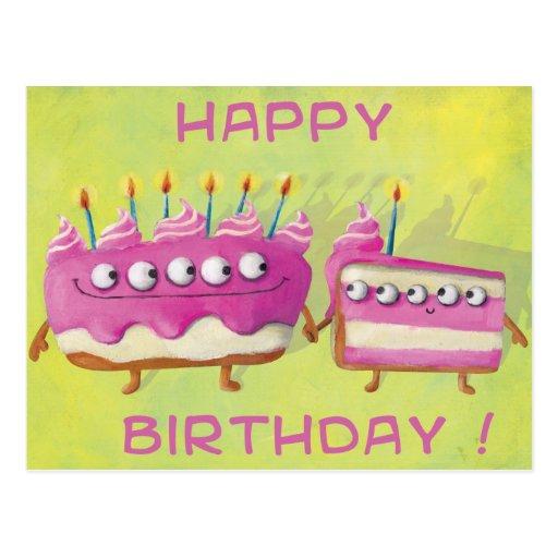 Birthday Fruit Cake Post Card