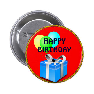 BIRTHDAY gift and balloons 2 Inch Round Button