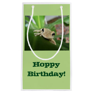 Birthday Gift bag, cute little frog in plant. Small Gift Bag