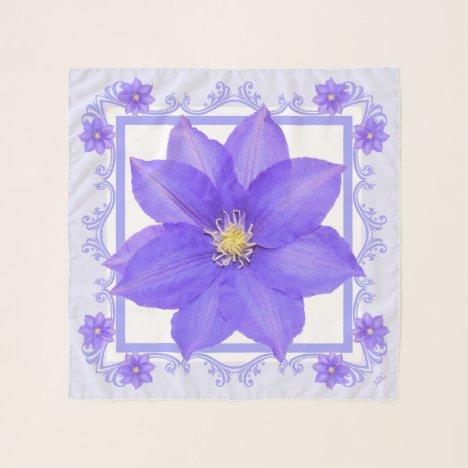 Birthday Gift Purple Clematis Square Chiffon Scarf