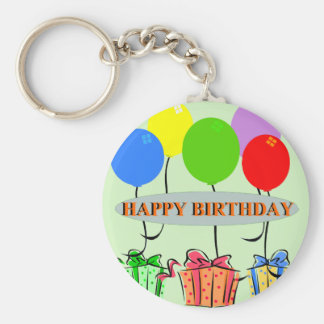 Birthday Gifts and Ballons Basic Round Button Keychain