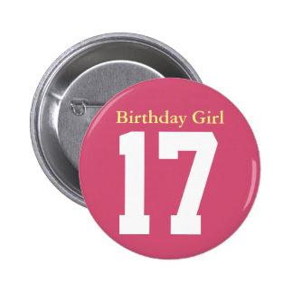 Birthday Girl 17 Pinback Button