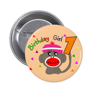 "Birthday Girl ""1"" year old Pinback Button"