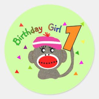 Birthday Girl 1 year old Round Sticker