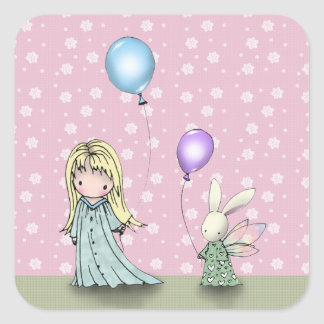 Birthday Girl and Bunny with Balloons Stickers