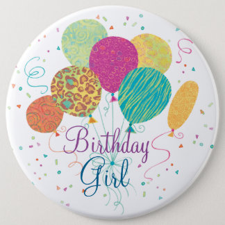 Birthday Girl Animal Pattern Balloons Button