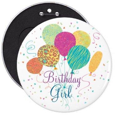 birthday Birthday Girl Animal Pattern Balloons Button