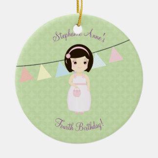 Birthday Girl at Gift Table Ceramic Ornament