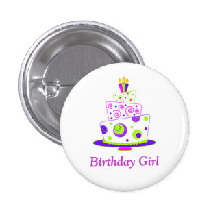Birthday Girl Badge Pinback Buttons
