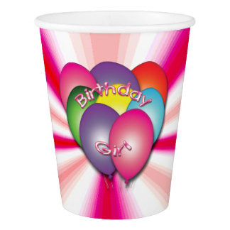 Birthday Girl Balloons Pink Party Cups Paper Cup