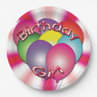 Birthday Girl Balloons Pink Party Plates