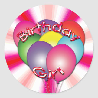 Birthday Girl Balloons Stickers