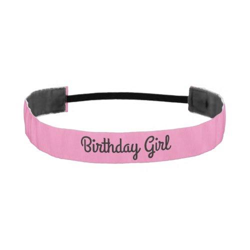 Birthday Girl Black and Pink Athletic Headband