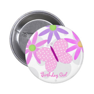 Birthday Girl Butterfly Button