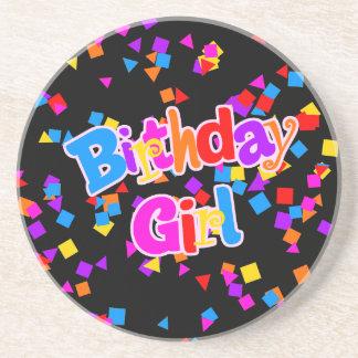 Birthday Girl Celebration Confetti Drink Coaster