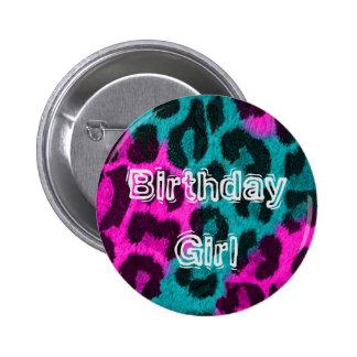 Birthday Girl Cheetah Button