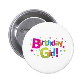 Birthday girl colorful Tshirt 2 Inch Round Button