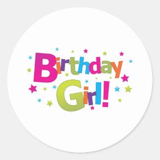 Birthday girl colorful Tshirt Classic Round Sticker