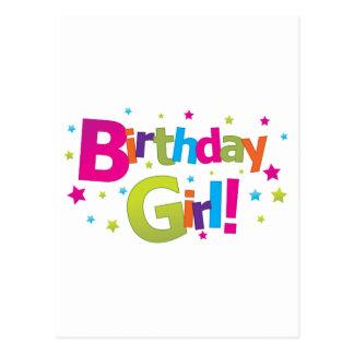 Birthday girl colorful Tshirt Postcard