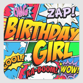 Birthday Girl Comic Book Square Sticker