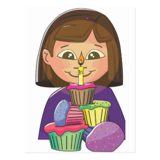 Birthday girl cupcakes postcards