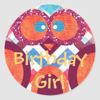 Birthday Girl Cute Abstract Owl Sticker Colorful