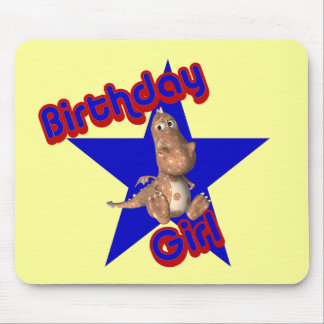 Birthday Girl Cute Dinosaur Funny Mousepad