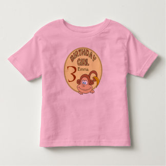 Birthday Girl Cute Monkey Personalized Name Shirt
