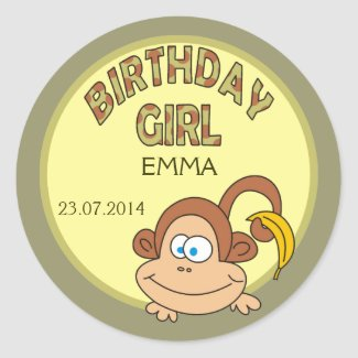 Birthday Girl Cute Monkey With Banana Stickers
