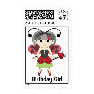 Birthday Girl Cute Red Ladybug Fairy Stamp Postage