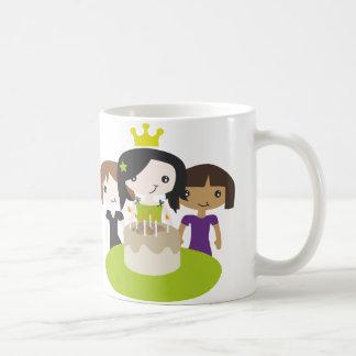 Birthday girl drinking mug