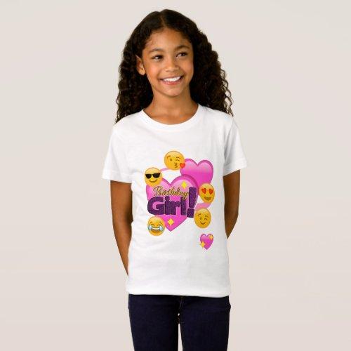 Birthday Girl Emojis heart T_Shirt