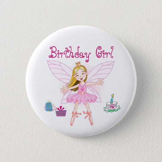 Birthday Girl Fairy Ballerina Pinback Button