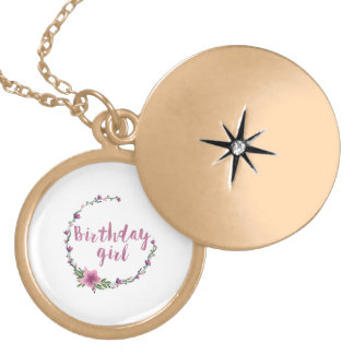 Birthday girl Flowers Locket Necklace