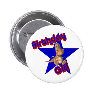 Birthday Girl Friendly Dinosaur Cute Button