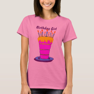Birthday Girl Giant Pink Birthday Cake T-Shirt