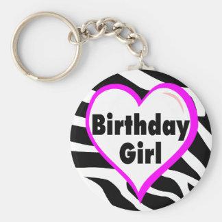 Birthday Girl (Heart Zebra Stripes) Basic Round Button Keychain