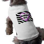 Birthday Girl (Heart Zebra Stripes) Doggie T-shirt