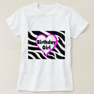 Birthday Girl (Heart Zebra Stripes) T-Shirt