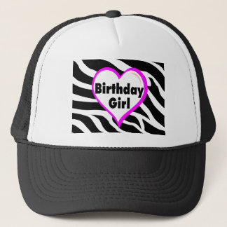 Birthday Girl (Heart Zebra Stripes) Trucker Hat
