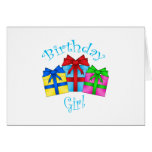 Birthday girl in blue with presents greeting card