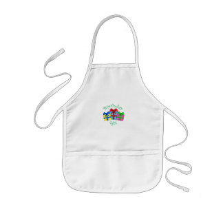 Birthday girl in green with presents kids' apron