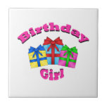 Birthday girl in pink with presents ceramic tile