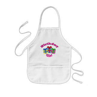 Birthday girl in pink with presents kids' apron