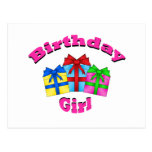 Birthday girl in pink with presents postcard