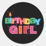 Birthday Girl Letters Round Sticker