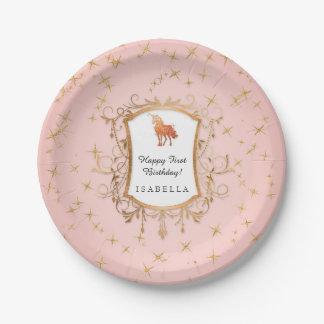Birthday Girl Magical Unicorn Rose Gold Princess Paper Plate