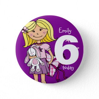Birthday girl name and age button / badge purple button