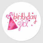 Birthday Girl Party Hat Classic Round Sticker