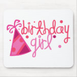 Birthday Girl Party Hat Mouse Pad